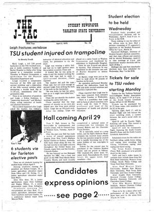 Primary view of object titled 'The J-TAC (Stephenville, Tex.), Vol. 55, No. 23, Ed. 1 Thursday, April 3, 1975'.