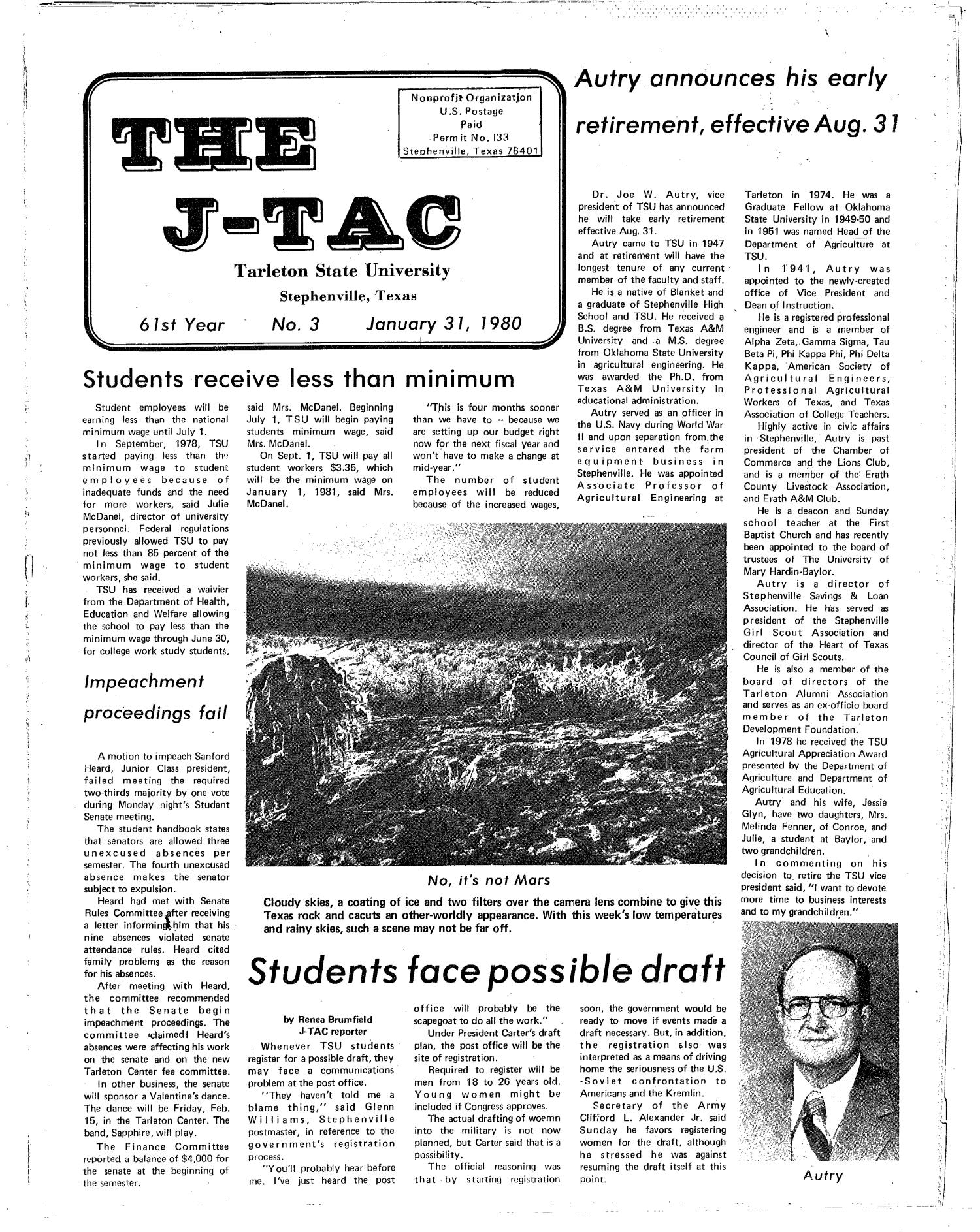 The J-TAC (Stephenville, Tex.), Vol. 61, No. 3, Ed. 1 Thursday, January 31, 1980                                                                                                      [Sequence #]: 1 of 12