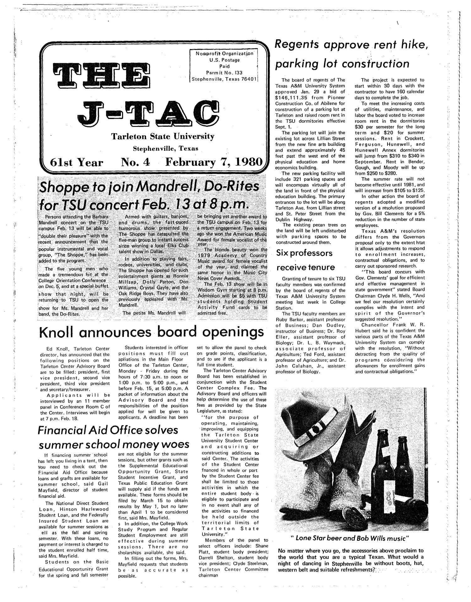 The J-TAC (Stephenville, Tex.), Vol. 61, No. 4, Ed. 1 Thursday, February 7, 1980                                                                                                      [Sequence #]: 1 of 12