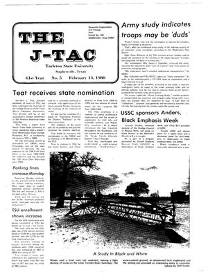 Primary view of object titled 'The J-TAC (Stephenville, Tex.), Vol. 61, No. 5, Ed. 1 Thursday, February 14, 1980'.