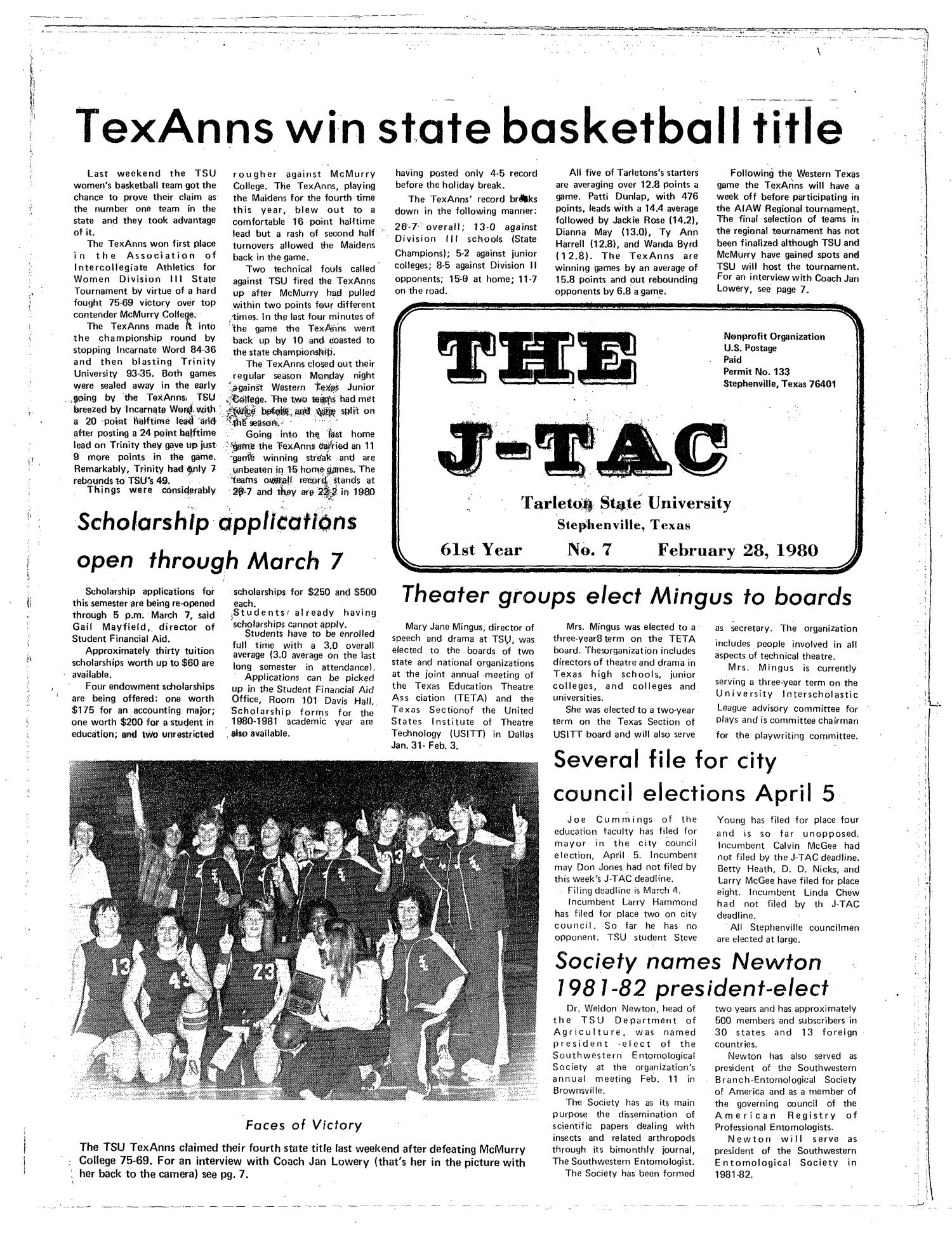 The J-TAC (Stephenville, Tex.), Vol. 61, No. 7, Ed. 1 Thursday, February 28, 1980                                                                                                      [Sequence #]: 1 of 12