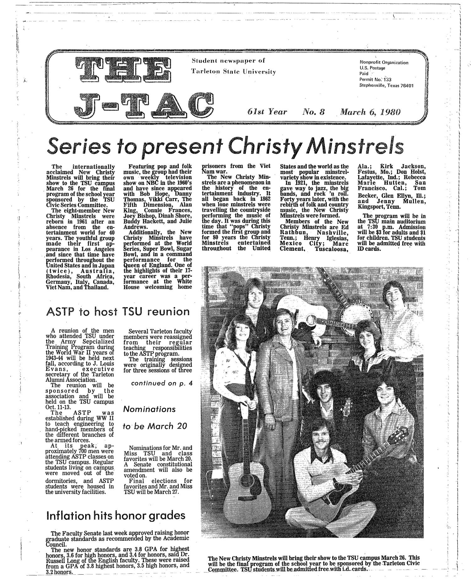 The J-TAC (Stephenville, Tex.), Vol. 61, No. 8, Ed. 1 Thursday, March 6, 1980                                                                                                      [Sequence #]: 1 of 12