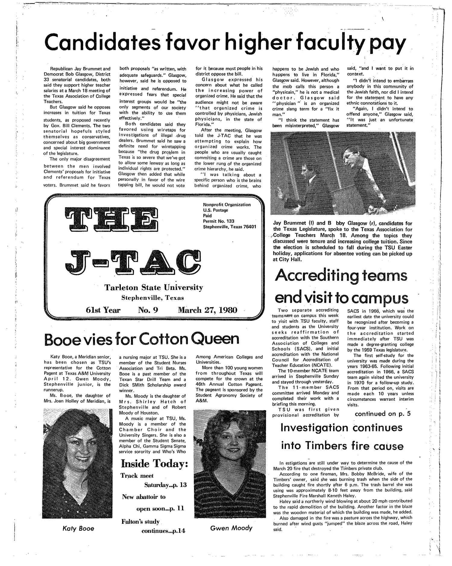 The J-TAC (Stephenville, Tex.), Vol. 61, No. 9, Ed. 1 Thursday, March 27, 1980                                                                                                      [Sequence #]: 1 of 16