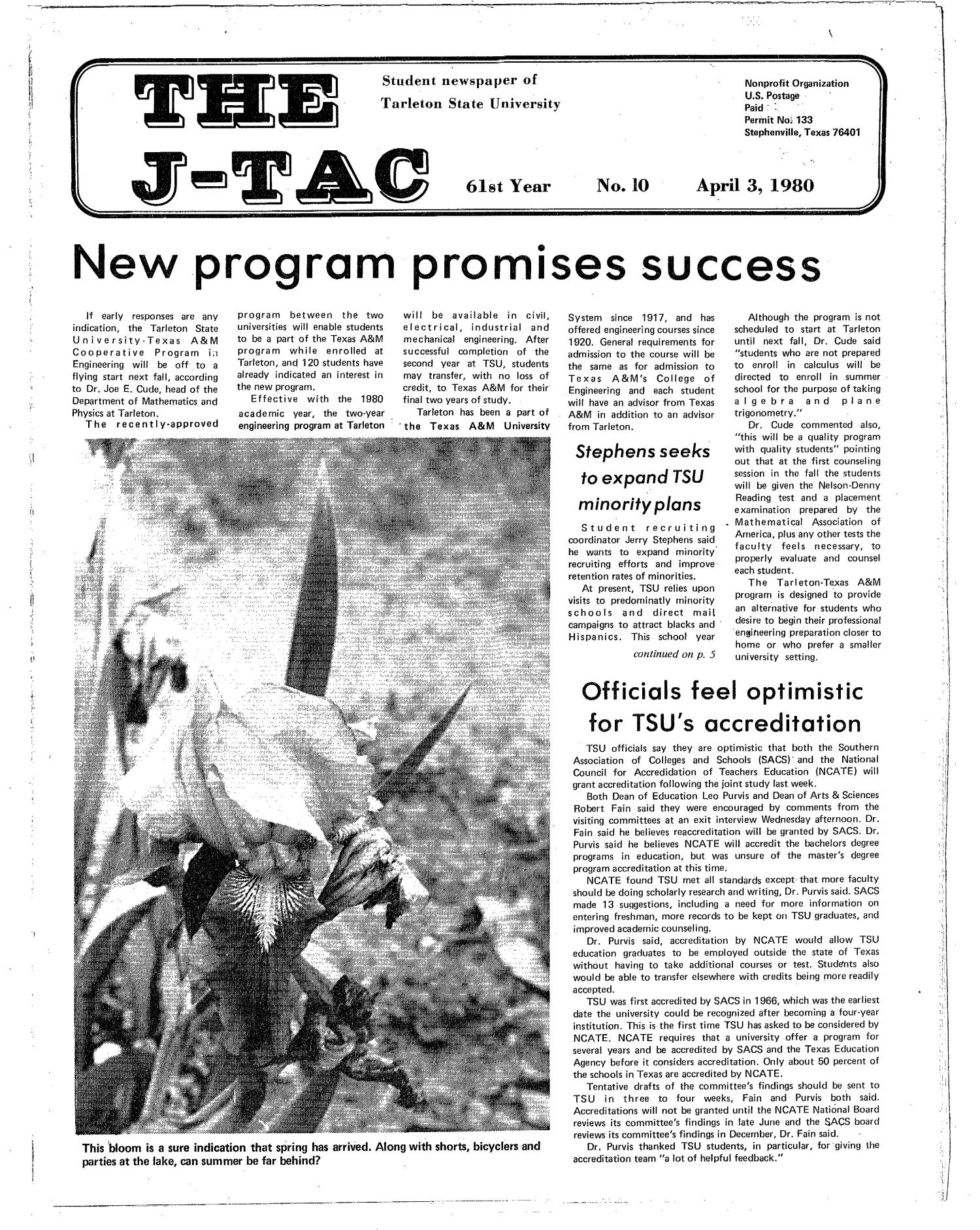 The J-TAC (Stephenville, Tex.), Vol. 61, No. 10, Ed. 1 Thursday, April 3, 1980                                                                                                      [Sequence #]: 1 of 12