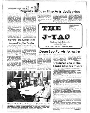 Primary view of object titled 'The J-TAC (Stephenville, Tex.), Vol. 61, No. 11, Ed. 1 Thursday, April 10, 1980'.