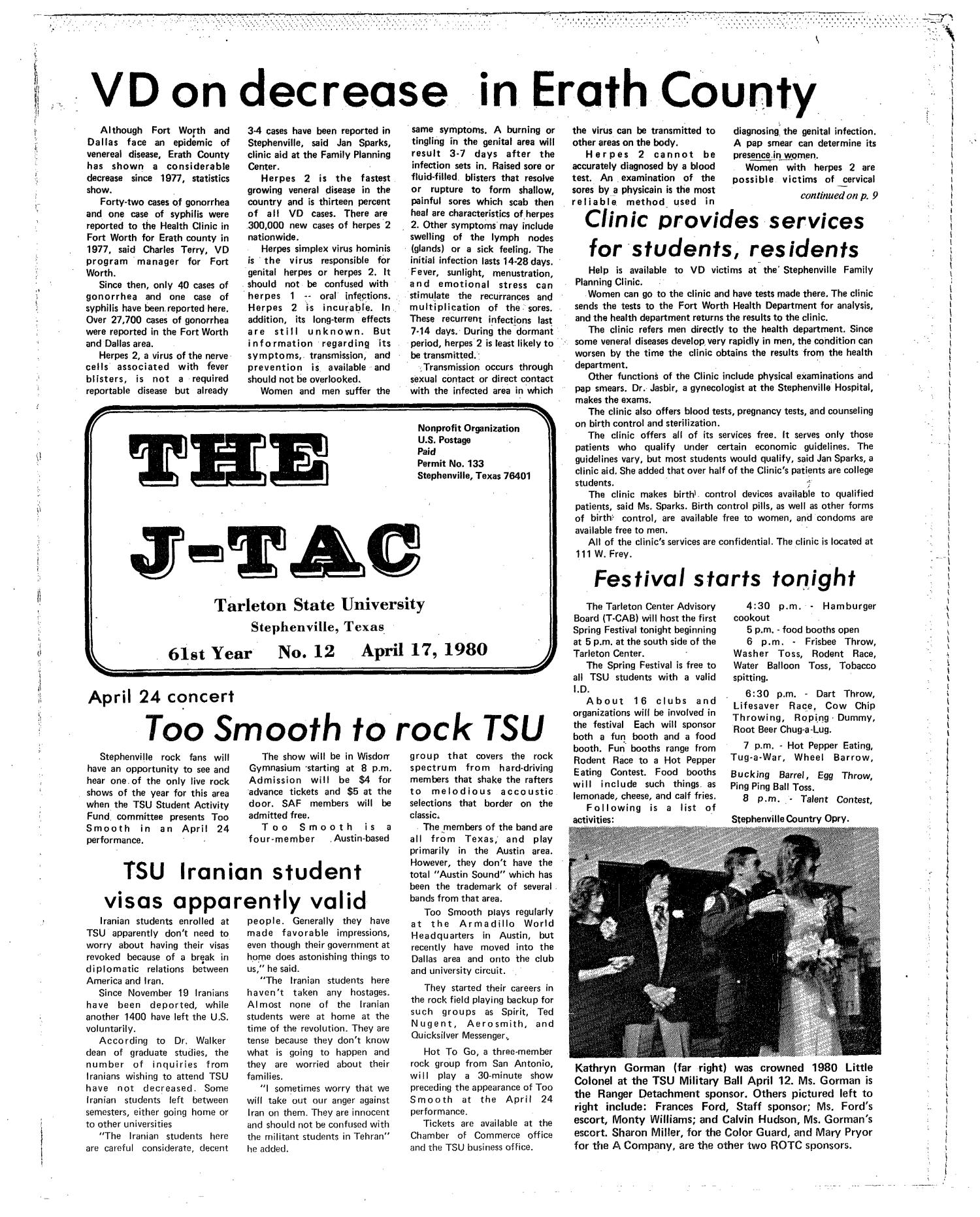 The J-TAC (Stephenville, Tex.), Vol. 61, No. 12, Ed. 1 Thursday, April 17, 1980                                                                                                      [Sequence #]: 1 of 12