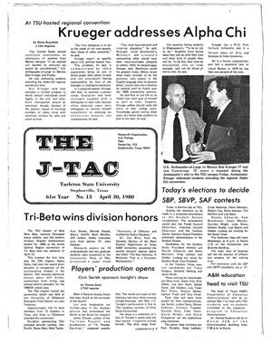 Primary view of object titled 'The J-TAC (Stephenville, Tex.), Vol. 61, No. 13, Ed. 1 Thursday, April 24, 1980'.