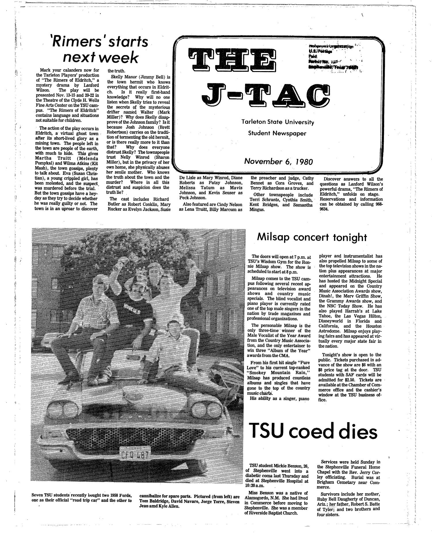 The J-TAC (Stephenville, Tex.), Ed. 1 Thursday, November 6, 1980                                                                                                      [Sequence #]: 1 of 8
