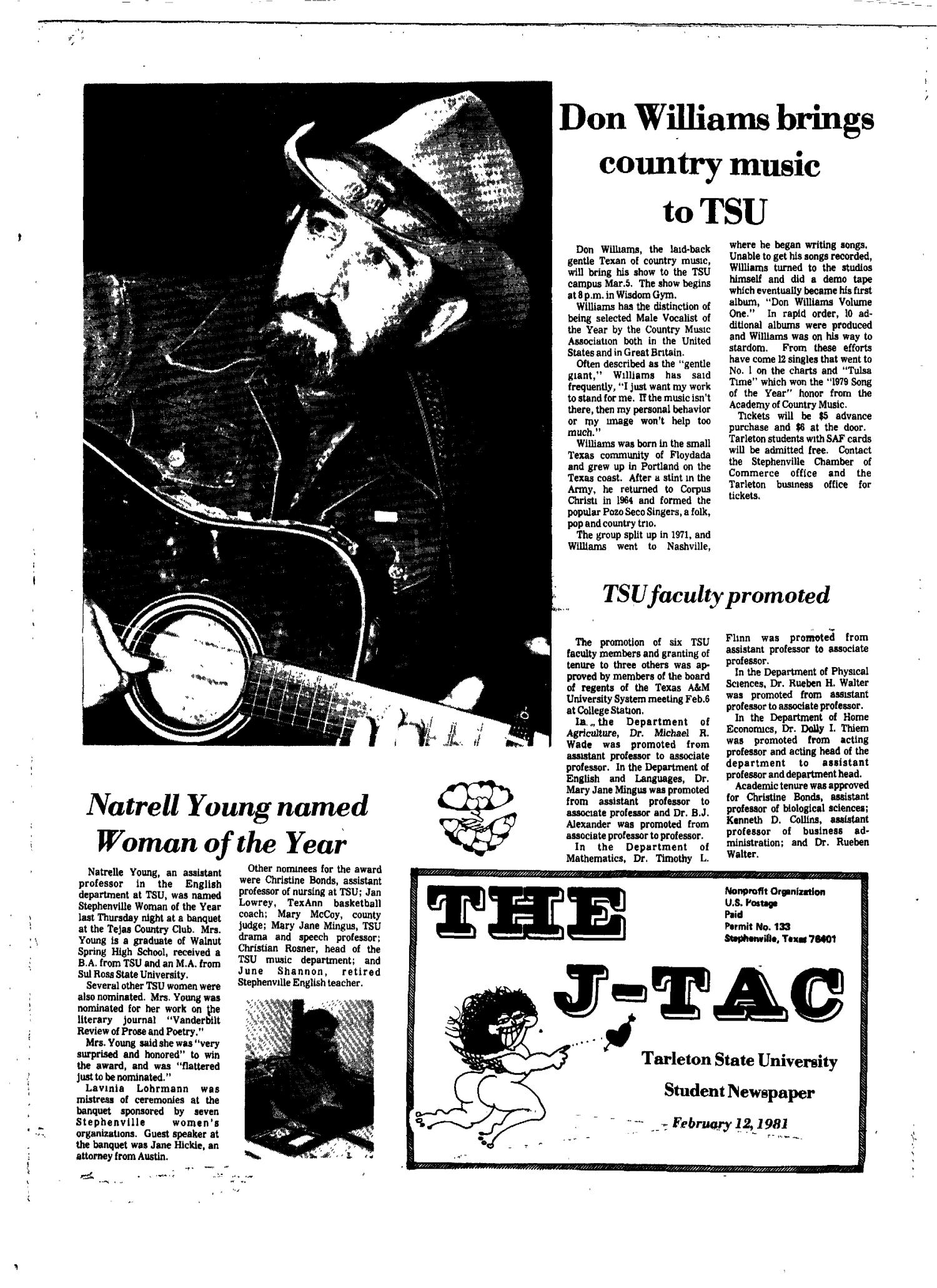 The J-TAC (Stephenville, Tex.), Ed. 1 Thursday, February 12, 1981                                                                                                      [Sequence #]: 1 of 12