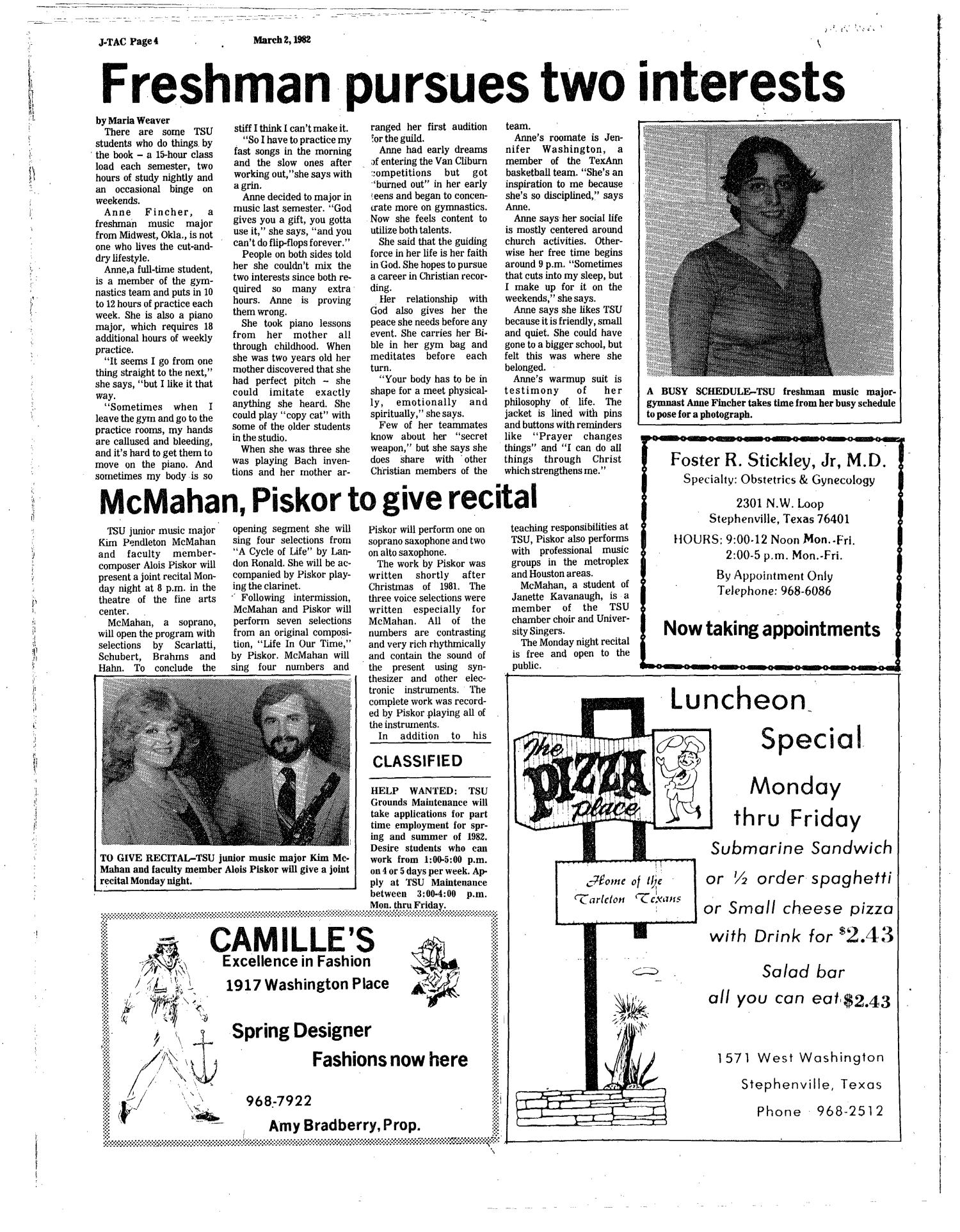 The J-TAC (Stephenville, Tex.), Ed. 1 Tuesday, March 2, 1982                                                                                                      [Sequence #]: 4 of 8
