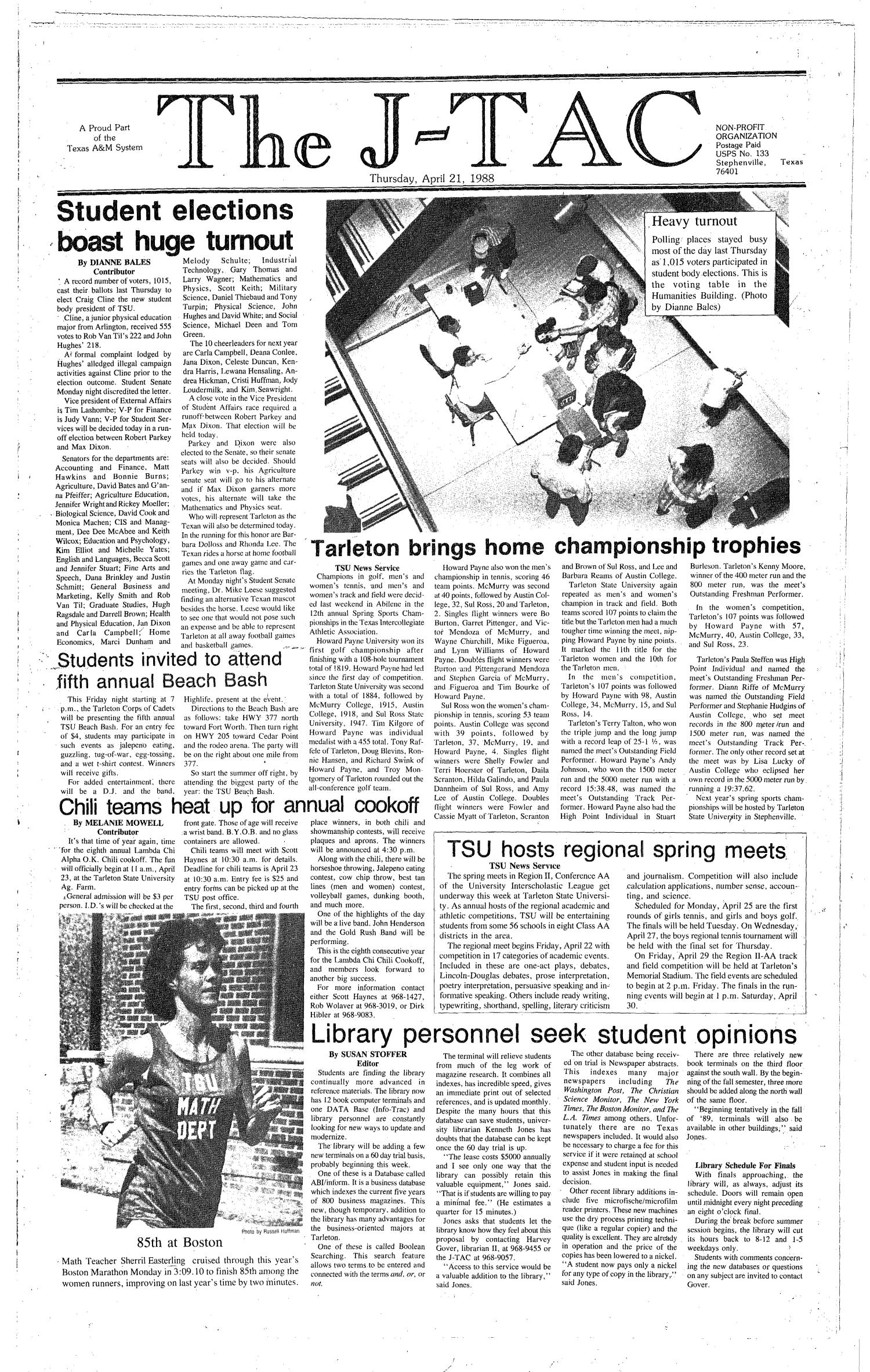 The J-TAC (Stephenville, Tex.), Ed. 1 Thursday, April 21, 1988                                                                                                      [Sequence #]: 1 of 10