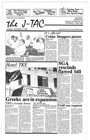 Primary view of object titled 'The J-TAC (Stephenville, Tex.), Ed. 1 Thursday, September 28, 1989'.