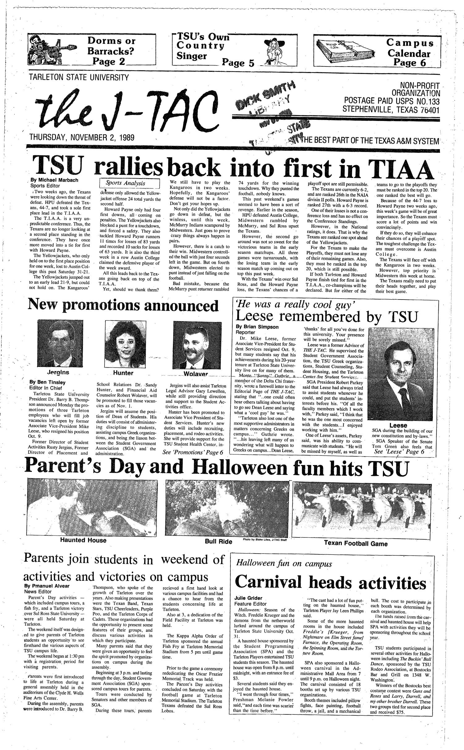 The J-TAC (Stephenville, Tex.), Ed. 1 Thursday, November 2, 1989                                                                                                      [Sequence #]: 1 of 4