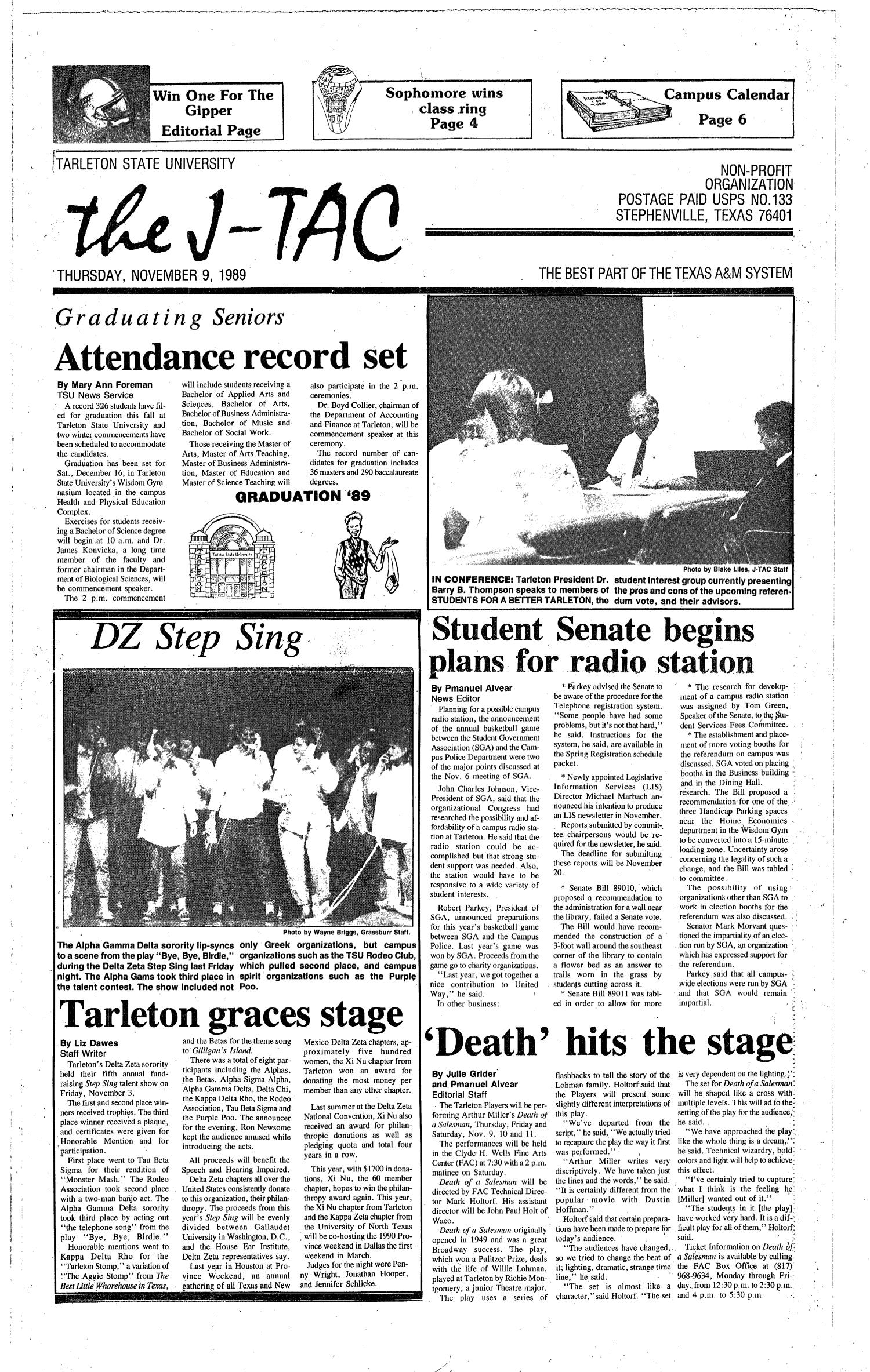 The J-TAC (Stephenville, Tex.), Ed. 1 Thursday, November 9, 1989                                                                                                      [Sequence #]: 1 of 6