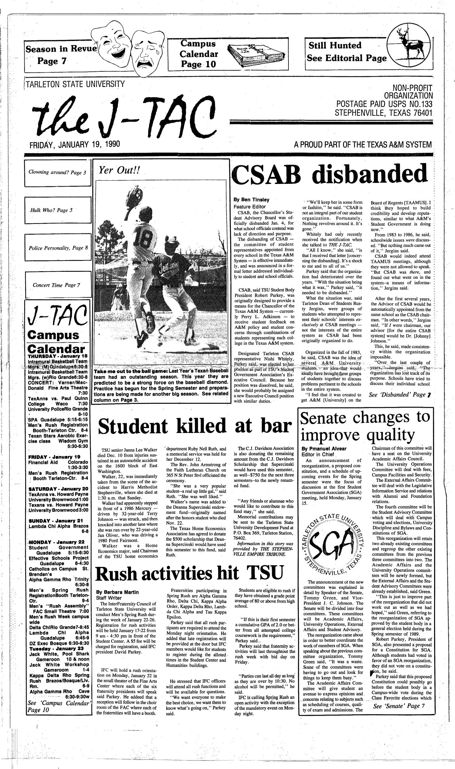 The J-TAC (Stephenville, Tex.), Ed. 1 Friday, January 19, 1990                                                                                                      [Sequence #]: 1 of 10