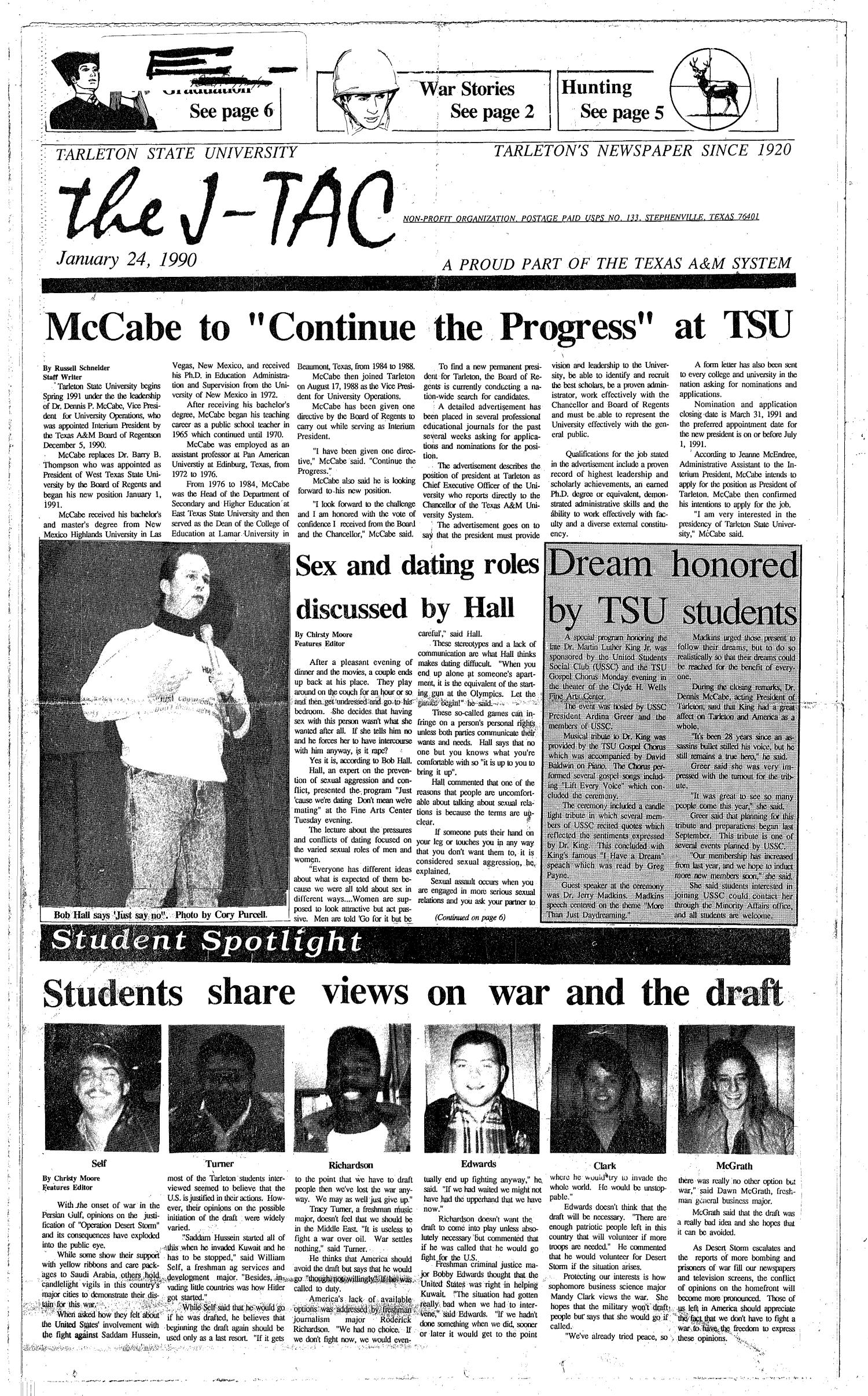 The J-TAC (Stephenville, Tex.), Ed. 1 Thursday, January 25, 1990                                                                                                      [Sequence #]: 1 of 6