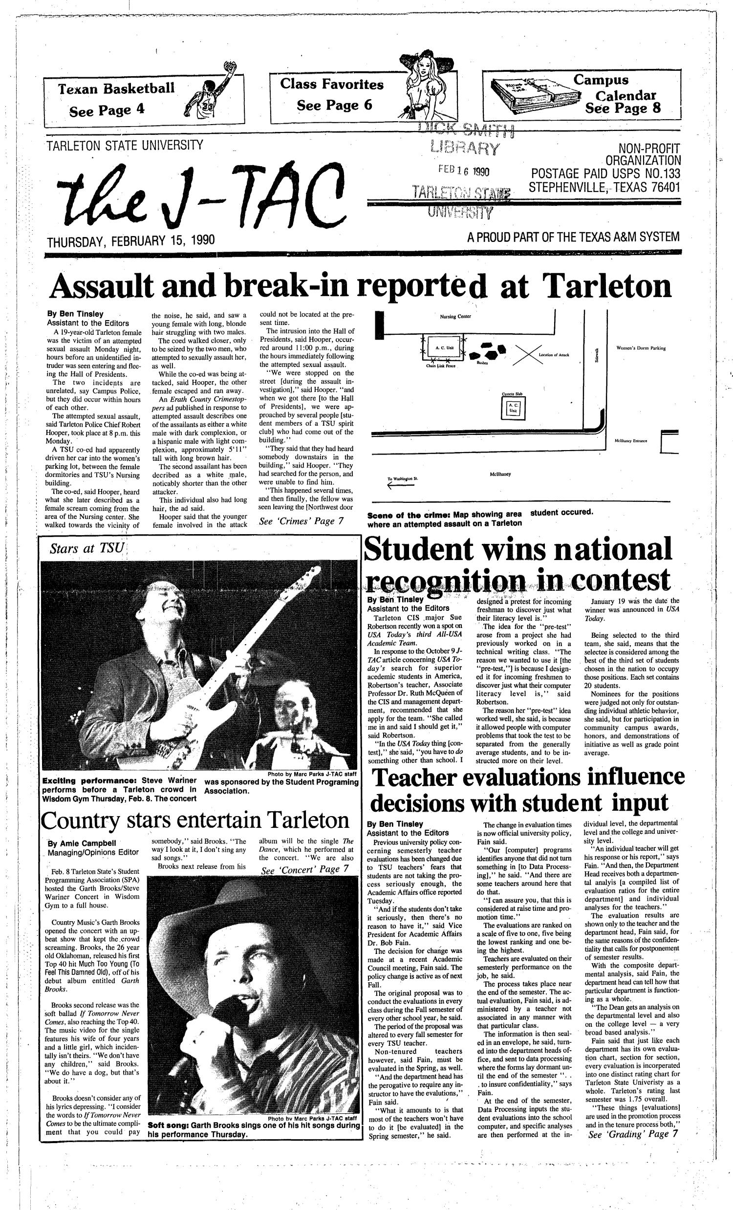 The J-TAC (Stephenville, Tex.), Ed. 1 Thursday, February 15, 1990                                                                                                      [Sequence #]: 1 of 8