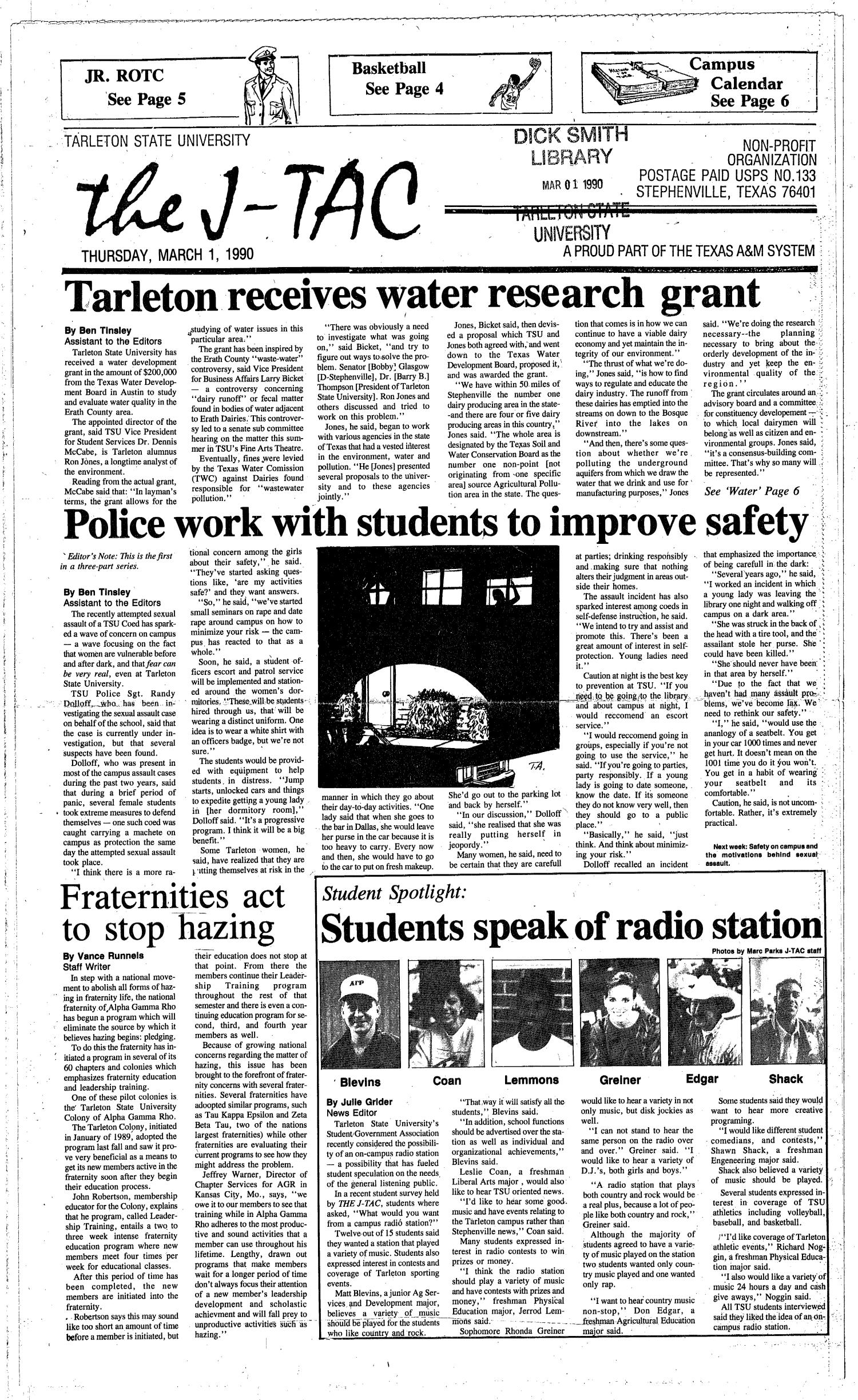 The J-TAC (Stephenville, Tex.), Ed. 1 Thursday, March 1, 1990                                                                                                      [Sequence #]: 1 of 6
