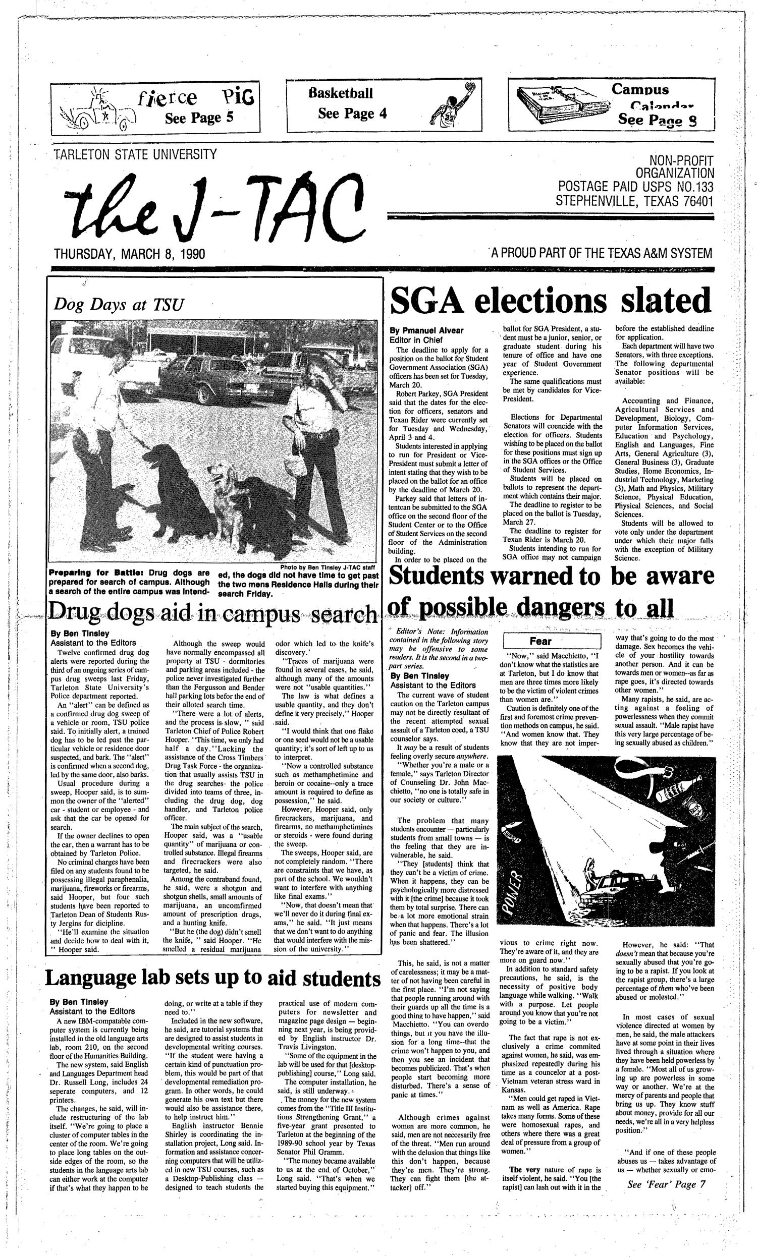 The J-TAC (Stephenville, Tex.), Ed. 1 Thursday, March 8, 1990                                                                                                      [Sequence #]: 1 of 8