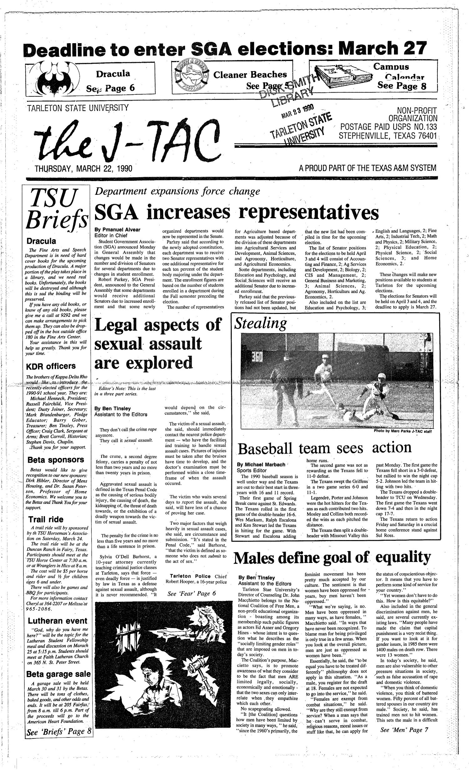 The J-TAC (Stephenville, Tex.), Ed. 1 Thursday, March 22, 1990                                                                                                      [Sequence #]: 1 of 8