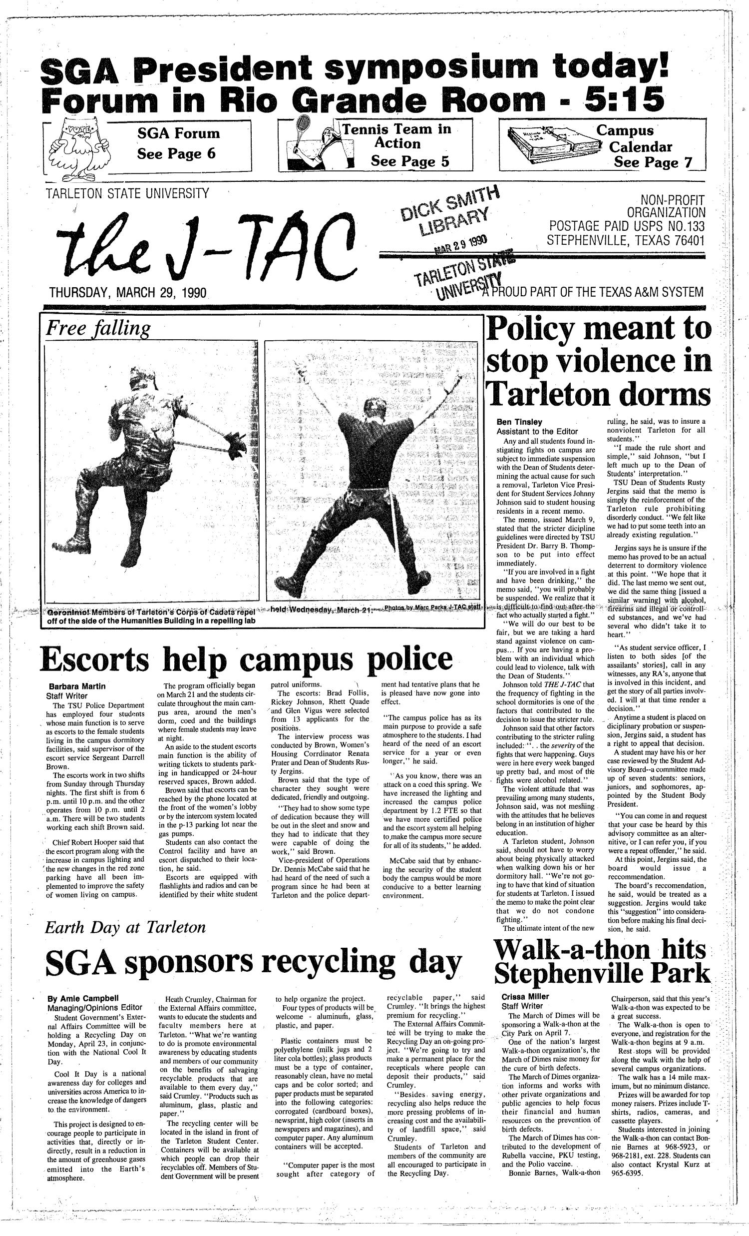 The J-TAC (Stephenville, Tex.), Ed. 1 Thursday, March 29, 1990                                                                                                      [Sequence #]: 1 of 8