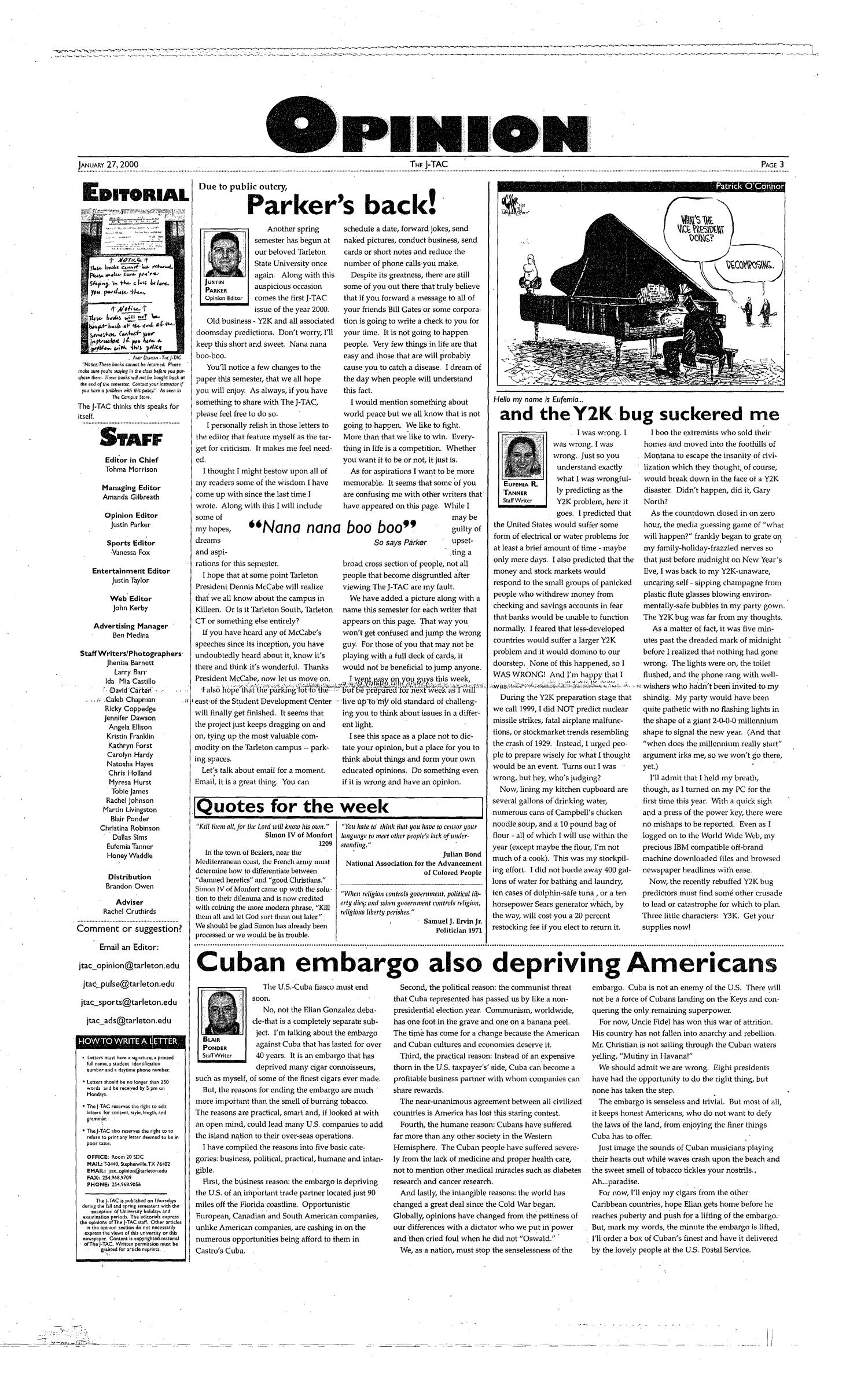 The J-TAC (Stephenville, Tex.), Vol. 159, No. 1, Ed. 1 Thursday, January 27, 2000                                                                                                      [Sequence #]: 3 of 12