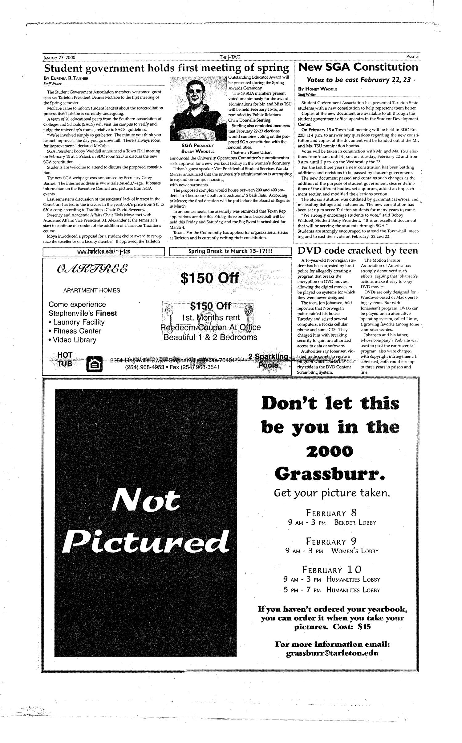 The J-TAC (Stephenville, Tex.), Vol. 159, No. 1, Ed. 1 Thursday, January 27, 2000                                                                                                      [Sequence #]: 5 of 12
