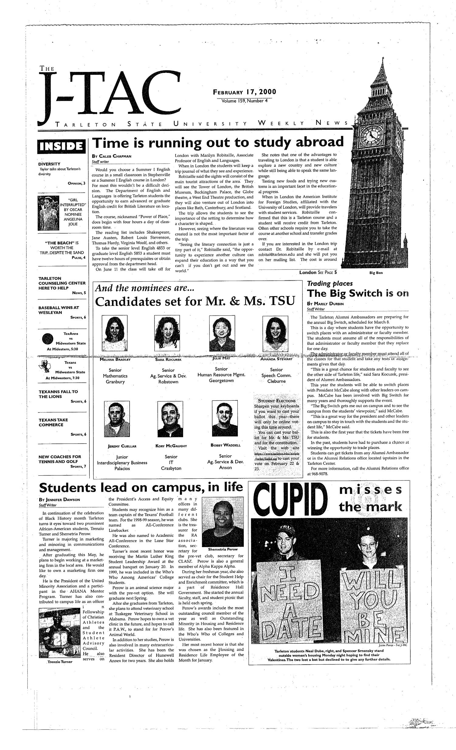 The J-TAC (Stephenville, Tex.), Vol. 159, No. 4, Ed. 1 Thursday, February 17, 2000                                                                                                      [Sequence #]: 1 of 8