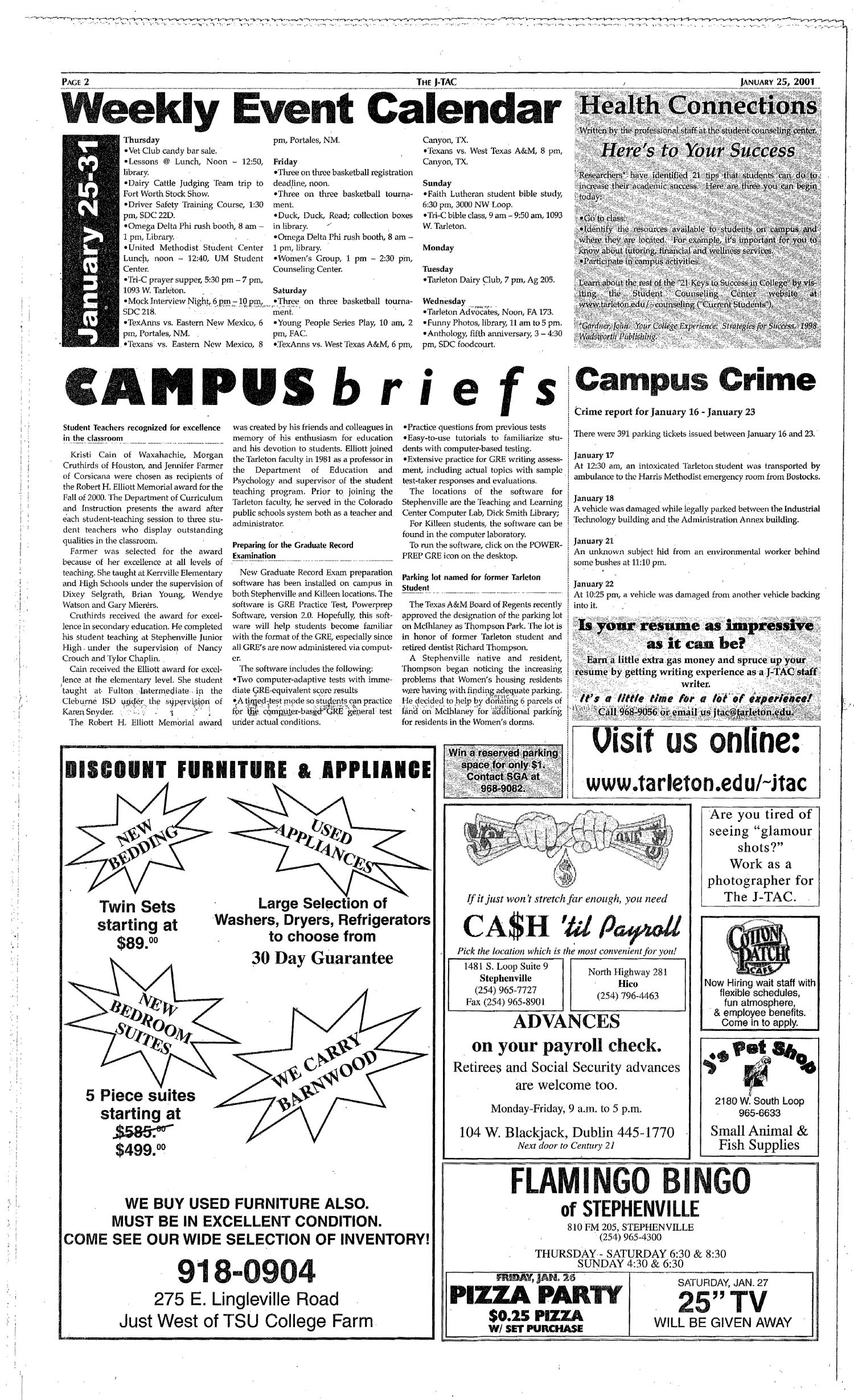The J-TAC (Stephenville, Tex.), Vol. 161, No. 1, Ed. 1 Thursday, January 25, 2001                                                                                                      [Sequence #]: 2 of 8