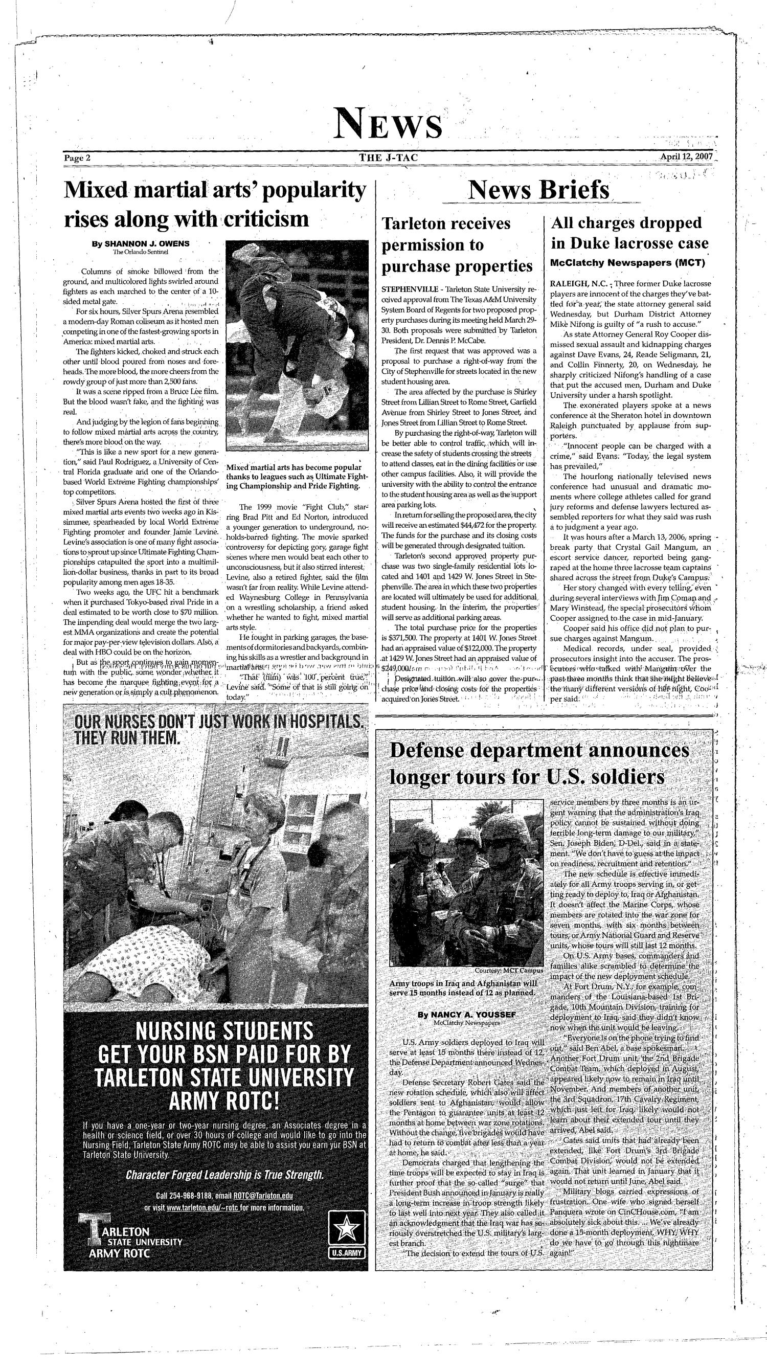 The J-TAC (Stephenville, Tex.), Vol. 173, No. 10, Ed. 1 Thursday, April 12, 2007                                                                                                      [Sequence #]: 2 of 16