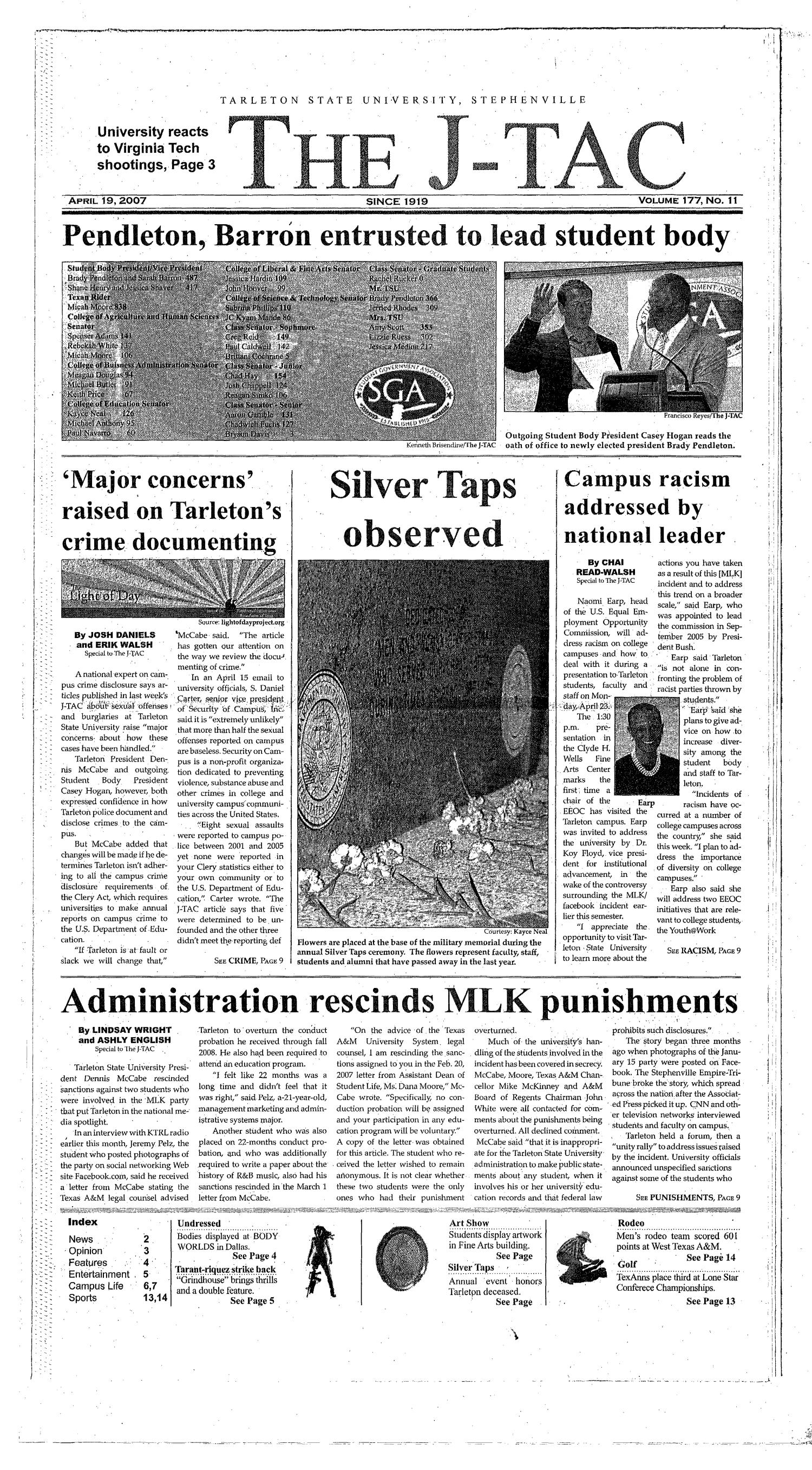 The J-TAC (Stephenville, Tex.), Vol. 173, No. 11, Ed. 1 Thursday, April 19, 2007                                                                                                      [Sequence #]: 1 of 14