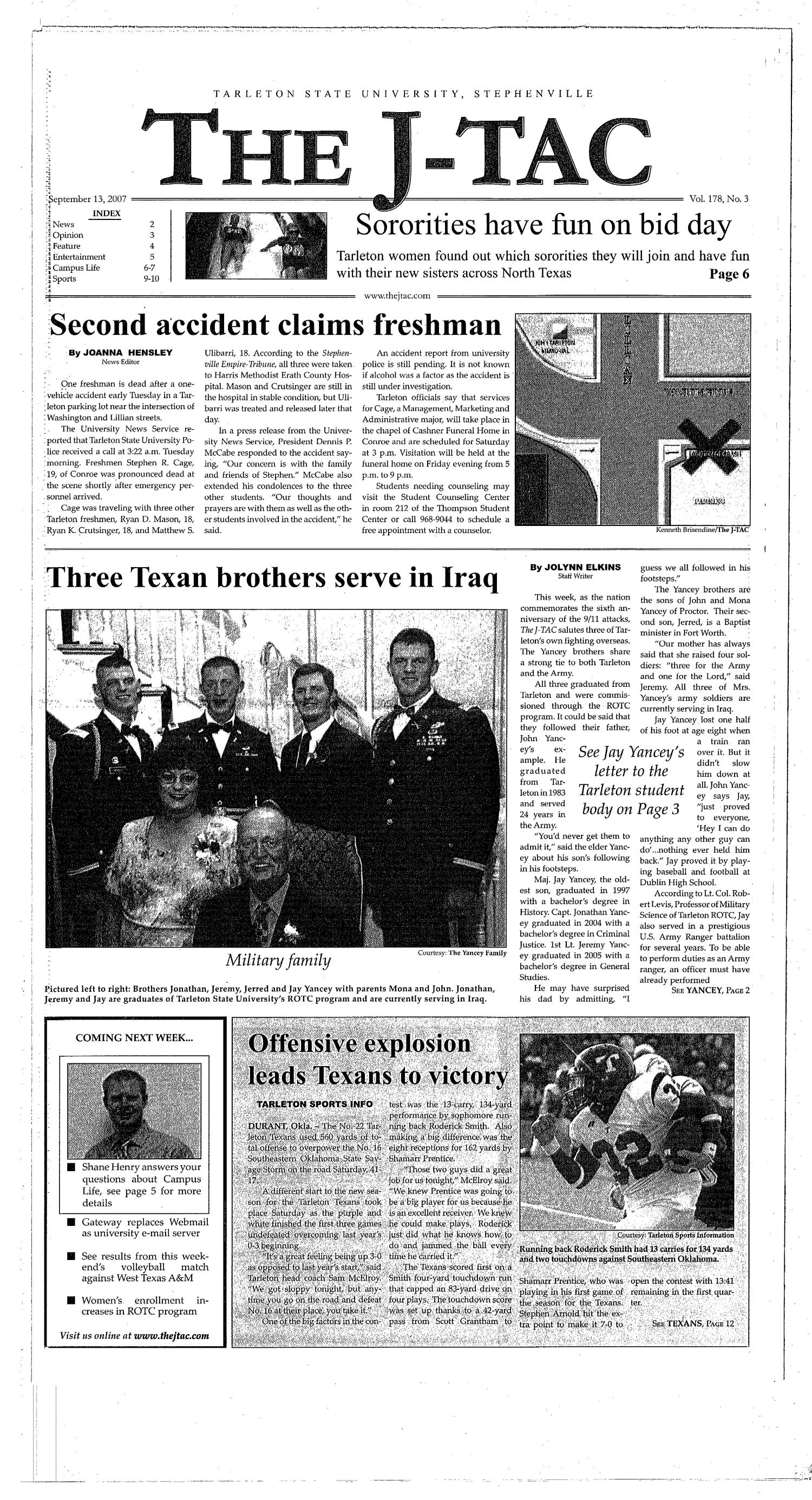 The J-TAC (Stephenville, Tex.), Vol. 178, No. 3, Ed. 1 Thursday, September 13, 2007                                                                                                      [Sequence #]: 1 of 10