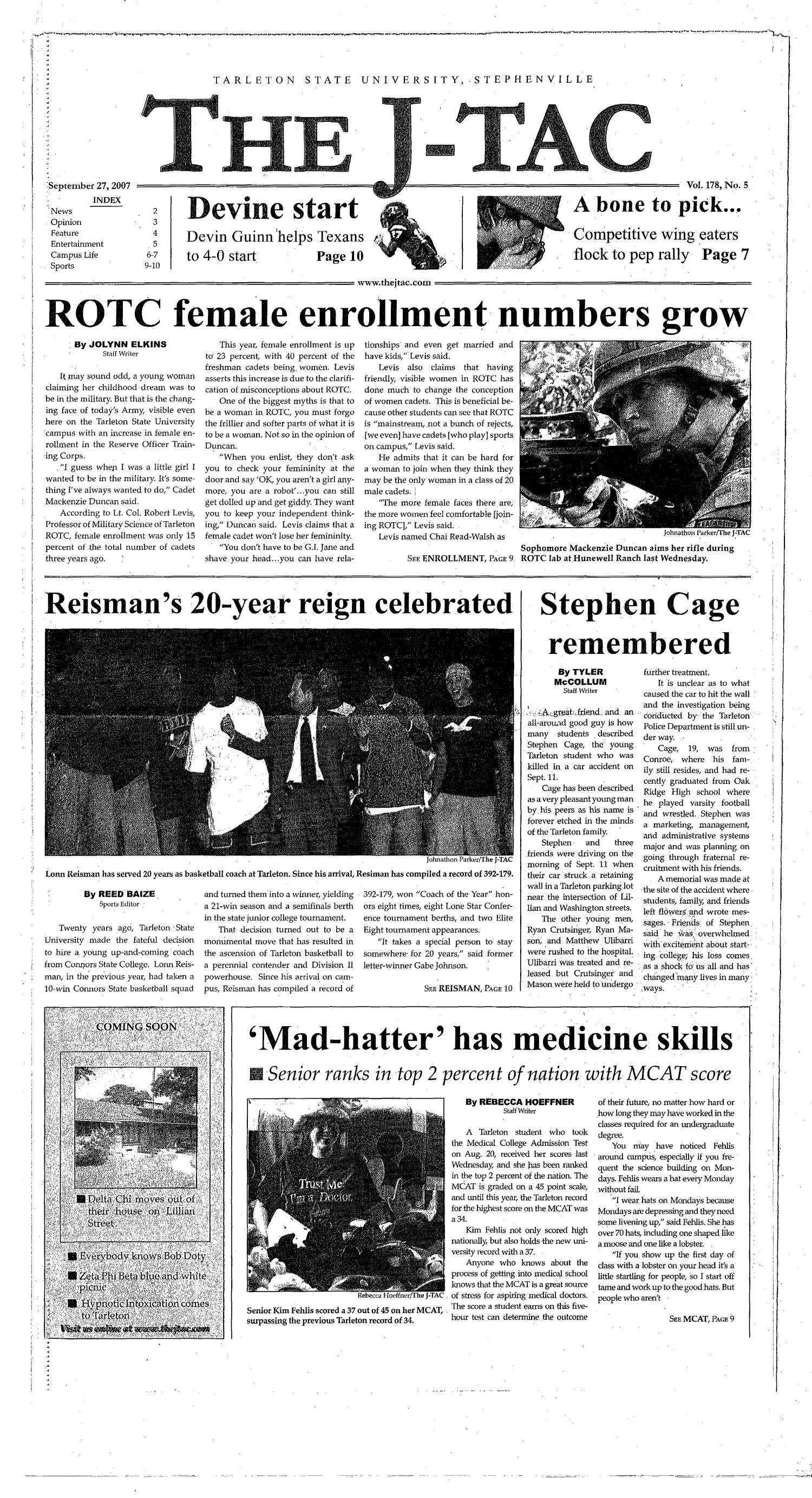 The J-TAC (Stephenville, Tex.), Vol. 178, No. 5, Ed. 1 Thursday, September 27, 2007                                                                                                      [Sequence #]: 1 of 10