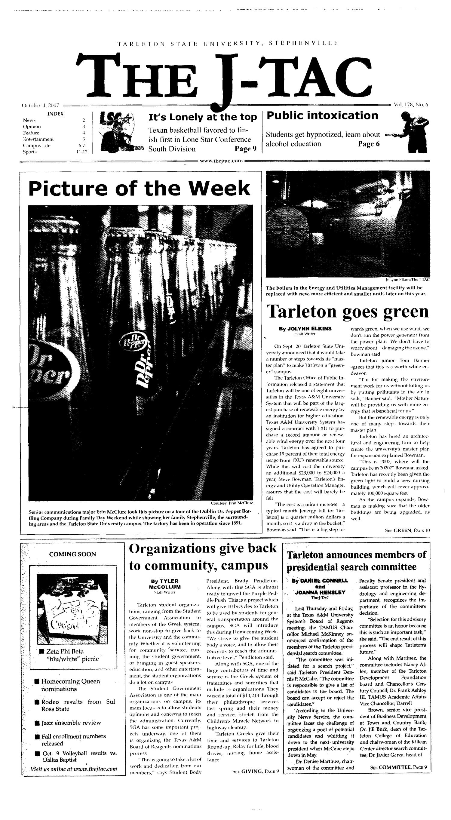 The J-TAC (Stephenville, Tex.), Vol. 178, No. 6, Ed. 1 Thursday, October 4, 2007                                                                                                      [Sequence #]: 1 of 12