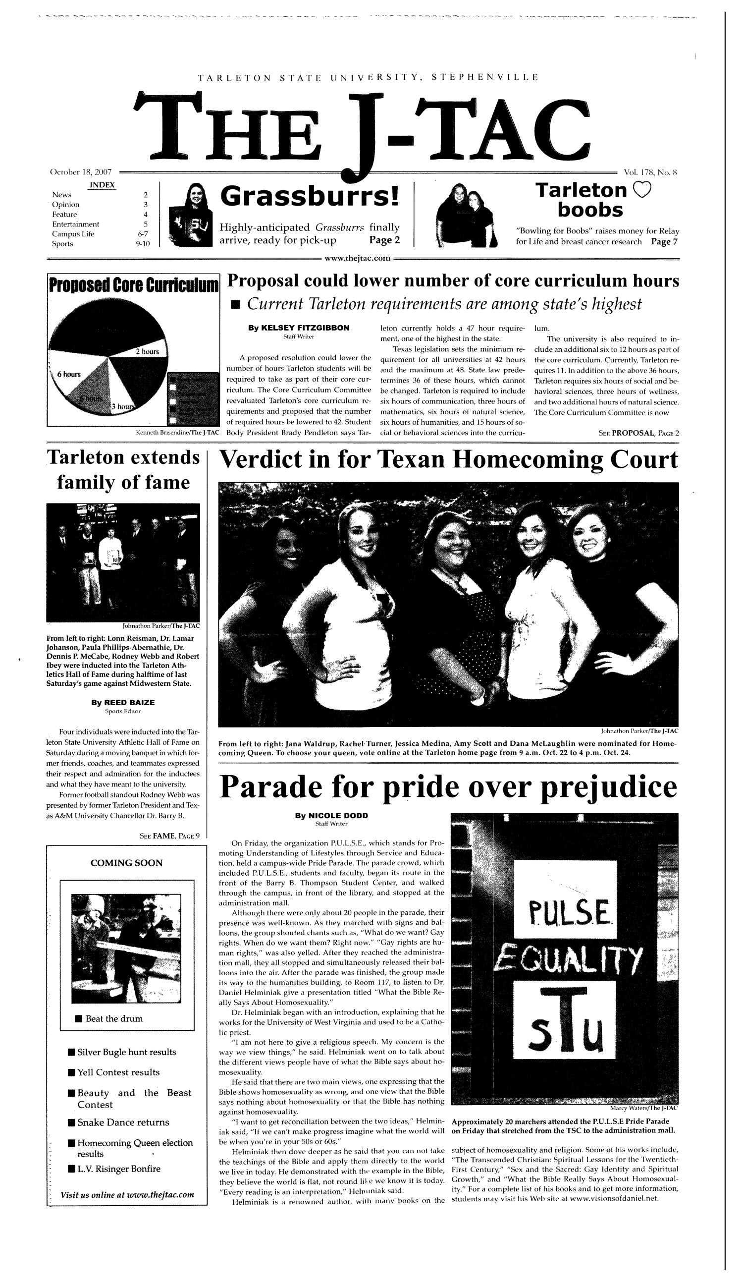 The J-TAC (Stephenville, Tex.), Vol. 178, No. 8, Ed. 1 Thursday, October 18, 2007                                                                                                      [Sequence #]: 1 of 10