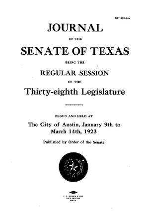 Primary view of object titled 'Journal of the Senate of Texas being the Regular Session of the Thirty-Eighth Legislature'.