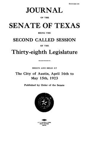 Primary view of object titled 'Journal of the Senate of Texas being the Second Called Session of the Thirty-Eighth Legislature'.