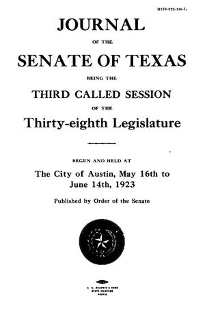 Journal of the Senate of Texas being the Third Called Session of the Thirty-Eighth Legislature