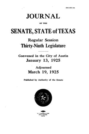 Primary view of object titled 'Journal of the Senate, State of Texas, Regular Session, Thirty-Ninth Legislature'.