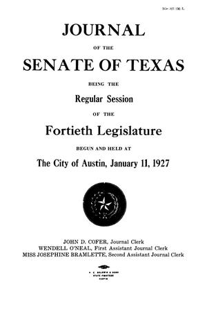 Primary view of object titled 'Journal of the Senate of Texas being the Regular Session of the Fortieth Legislature'.