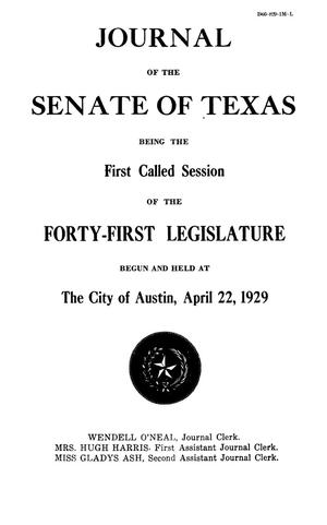Primary view of object titled 'Journal of the Senate of Texas being the First Called Session of the Forty-First Legislature'.