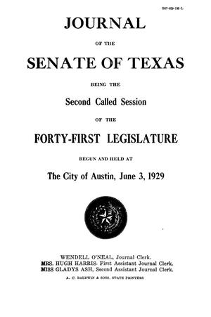 Primary view of object titled 'Journal of the Senate of Texas being the Second Called Session of the Forty-First Legislature'.