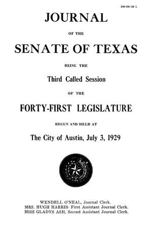 Primary view of object titled 'Journal of the Senate of Texas being the Third Called Session of the Forty-First Legislature'.