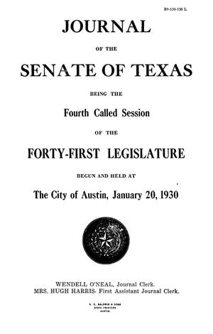 Primary view of object titled 'Journal of the Senate of Texas being the Fourth Called Session of the Forty-First Legislature'.
