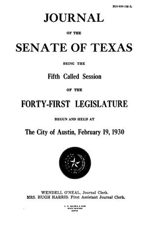 Primary view of object titled 'Journal of the Senate of Texas being the Fifth Called Session of the Forty-First Legislature'.