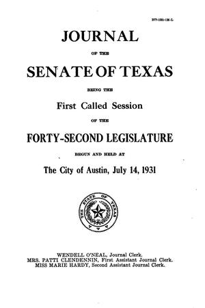 Primary view of object titled 'Journal of the Senate of Texas being the First Called Session of the Forty-Second Legislature'.