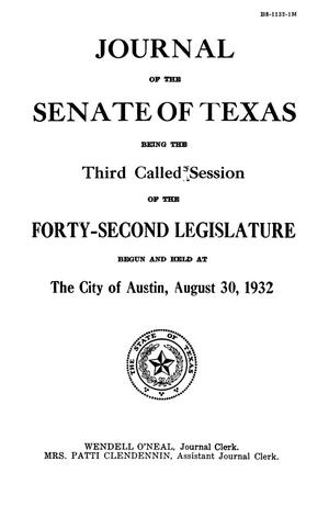 Primary view of object titled 'Journal of the Senate of Texas being the Third Called Session of the Forty-Second Legislature'.