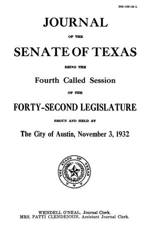 Primary view of object titled 'Journal of the Senate of Texas being the Fourth Called Session of the Forty-Second Legislature'.