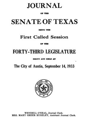 Journal of the Senate of Texas being the First Called Session of the Forty-Third Legislature