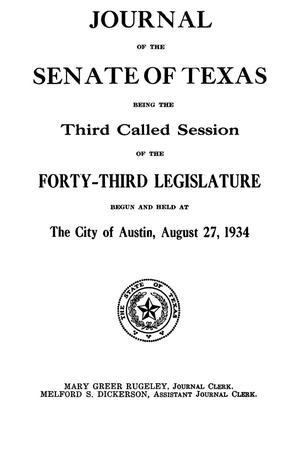 Primary view of object titled 'Journal of the Senate of Texas being the Third Called Session of the Forty-Third Legislature'.